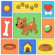 Funny cartoon dog and icons - illustration — Stock Photo #65800397