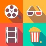 Set of movie design elements and cinema icons flat style — Stock Photo #65811641