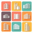 Постер, плакат: Set of dimensional buildings icons with shadow