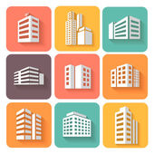 Set of dimensional buildings icons  with shadow — Stock Vector