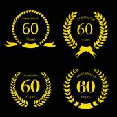 Sixty years anniversary signs  laurel gold wreath set — Stok Vektör