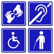 Disabled signs - deaf, blind, mute and wheelchair  icons. Vector. — Stock Vector #66999411