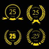 Golden laurel wreath 25 years set -   jubilee,  twenty five  anniversary — Stockvektor