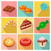 Candy, sweets and cakes icons poster — Zdjęcie stockowe