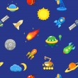 Seamless space pattern. Planets, rockets and stars. Cartoon spaceship icons. Childish background. — Stock Vector #68559899