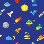 Seamless space pattern.  Planets, rockets and stars. Cartoon spaceship icons. Childish background. — Stock Vector
