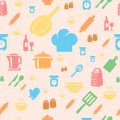Seamless repetitive pattern with kitchen items in retro style. — Stock Vector