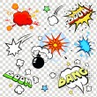 Comic speech bubbles in pop art style with bomb cartoon explosion bang boom text set vector illustration — Stock Vector #68869361