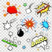 Comic speech bubbles in pop art style with bomb cartoon explosion bang boom text set vector illustration — Stock Vector
