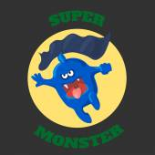 Cute monster T-shirt graphics, cute cartoon characters graphics for kids or Book illustrations. textile graphic — Stock vektor