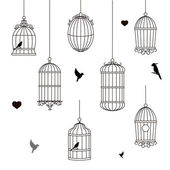 Set of different style bird cage — Stock Photo