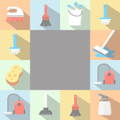 Application Cleaning Icons set in flat style with long shadows. — Stock Photo