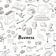 Business doodles seamless pattern background with diagrams, humans and ideas bulbs — Stock Photo #69719263