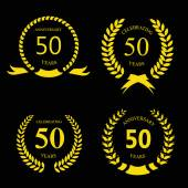 Fifty  years anniversary signs  laurel gold wreath set — Stok fotoğraf