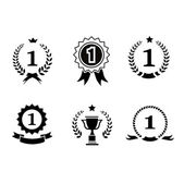 Set of black and white circular  winner emblems with leader icons laurel wreaths, ribbon rosettes enclosing the number 1  an award trophy  crown — Stock Photo