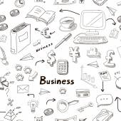 Business doodles seamless pattern background with diagrams, humans and ideas bulbs — Stock Photo