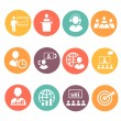 Business people meeting online and offline strategic icons set isolated — Stock Photo #70125909