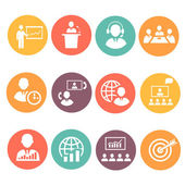 Business people meeting online and offline strategic icons set isolated — Stock Photo