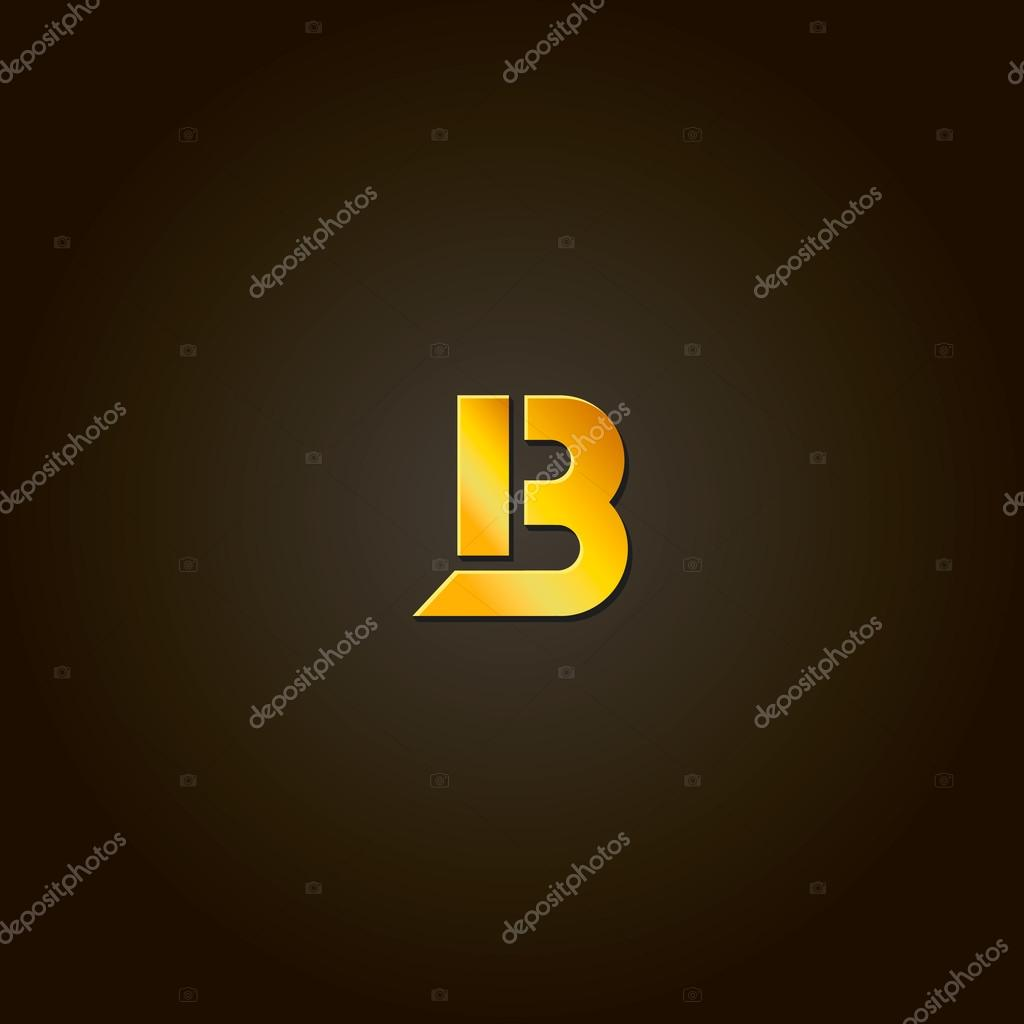 Letter B Gold Font Template For Company Logo Design