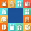 Set icons of gift boxes with colorful backgrounds. — Stock Photo #70141939