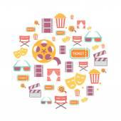 Movie Graphic Icons on white Background. — Stock Photo