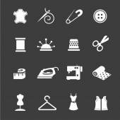 Sewing equipment and needlework icon set — Stock Photo