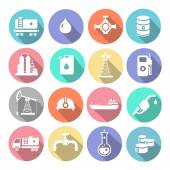 Oil industry drilling refining process petroleum transportation icons set with truck  tanker and pump flat isolated  illustration — Stock Photo