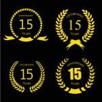 Celebrating 15 Years Anniversary - Golden Laurel Wreath — Stock Photo #70338797