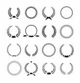 Set of black and white silhouette circular laurel  foliate  wheat — Stock Photo