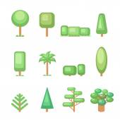 Tree icon set - Various  trees  and plants  Nature collection. Set of elements for construction urban and village landscapes. Vector flat illustration — Stock Vector