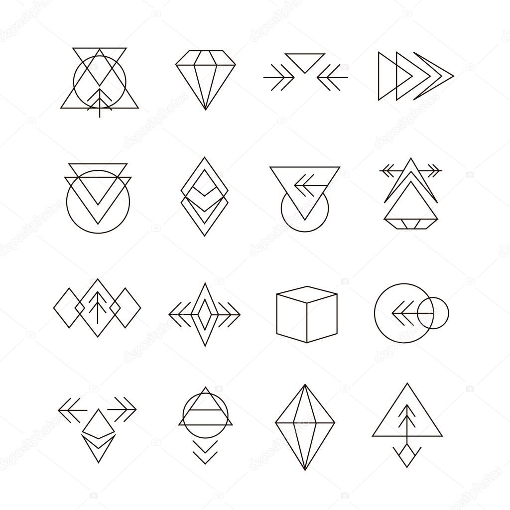 Line Logo Design : Abstract geometric set with hipster style icons for logo
