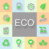 Vector flat design concept illustrations with icons of ecology, environment, green energy and pollution — Stock Vector