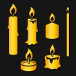 Set of gold silhouette burning candles — Stock Photo #72600901