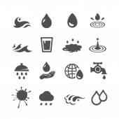 Black water icons set — Stock Photo