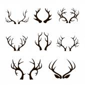 Vector deer antlers silhouette isolated on white.  Set of different antlers large, branched and acute — Stock Vector