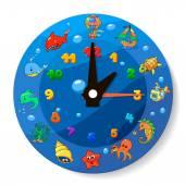 子供のための面白い漫画の時計 — ストックベクタ