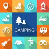 Camping icons Travel and Tourism concept.   Illustration. — Stock Photo