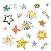 Collection of handdrawn stars in various shapes and designs, yellow, orange, pinc, blue — Stock Vector