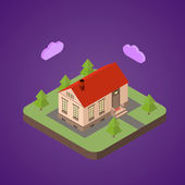 Old isometric house — Stockvector