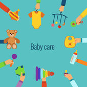 Baby care flat concept — Stock Vector