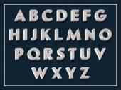 Vintage white volumetric alphabet — Stock Vector