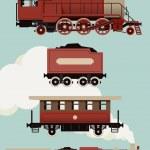 Vintage train set. — Stock Vector #60822597