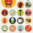 Backpack trip equipment icons. — Stock Vector #60824977