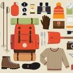 Snow backpack trip equipment. — Stock Vector #60824981