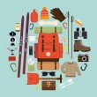 Snowy backpack trip equipment. — Stock Vector #60824993