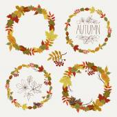 Autumn leaves round frames. — Stock Vector