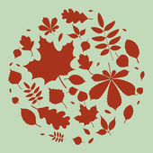 Fall leaves silhouettes — Stock Vector