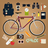 Travel and exploring equipment — Stock Vector