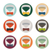 Collar with bow tie icons — Stock Vector
