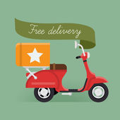 'Free delivery' scooter — Stock Vector